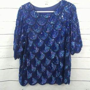 Vintage mermaid scallop sequin blouse